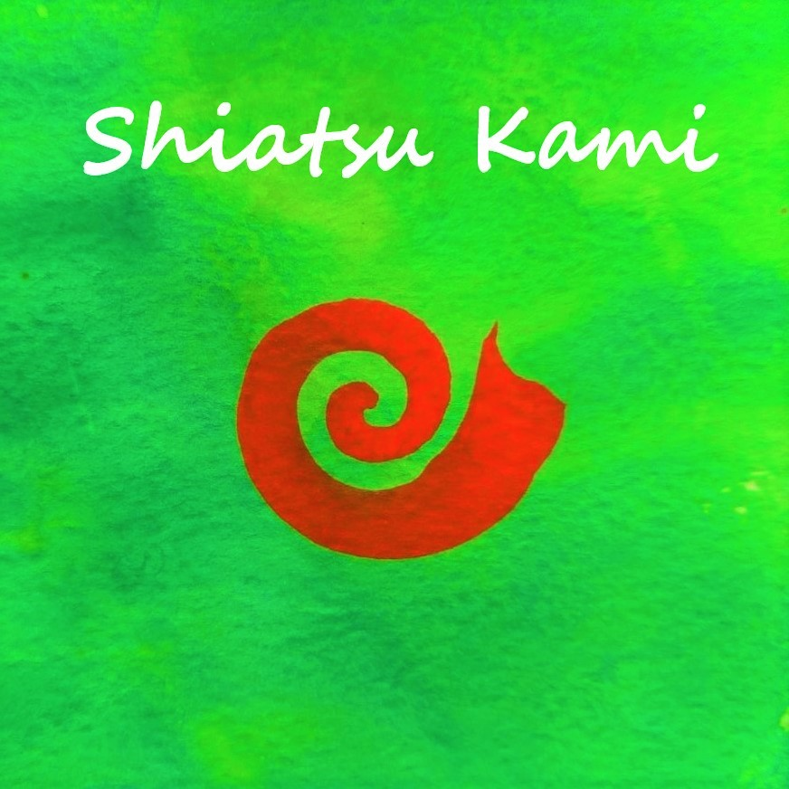 Spirale rouge sur un fond vert vif avec les mots shiatsu kami